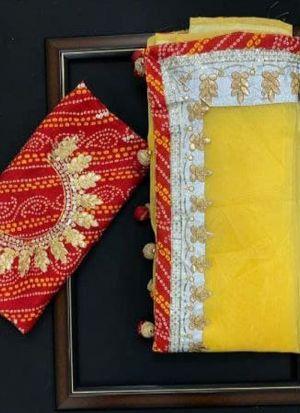 Yellow Sequence Work Organza Silk Saree