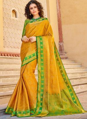 Yellow Silk Indian Traditional Saree