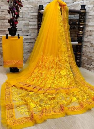 Yellow Soft Net Embroidered Saree
