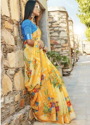 Yellow South Indian Cotton Designer Saree