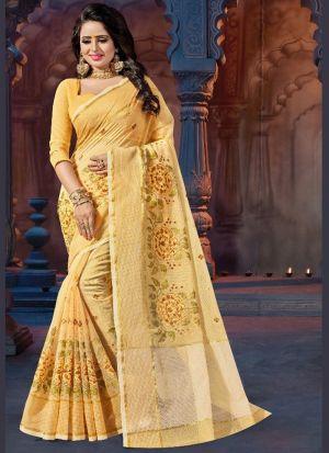 Yellow Supernet Festive Wear Saree