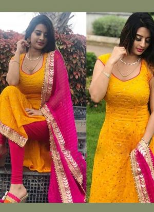 Yellow Thread Work Festive Wear Salwar Suit