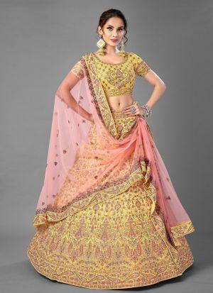 Yellow Thread Work Lehenga Choli