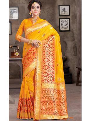 Yellow Traditional South Indian Wedding Crystal Silk Saree