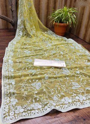 Yellow Zari Embroidered Net Saree