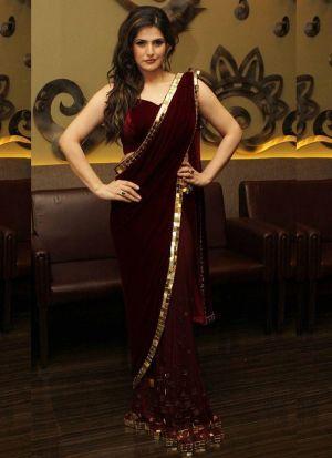 Zareen Khan Wear Maroon Color Velvet Saree