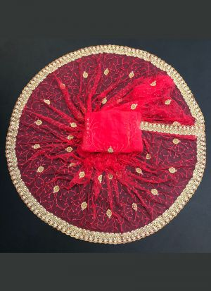 Zari Embroidered Hot Pink Saree