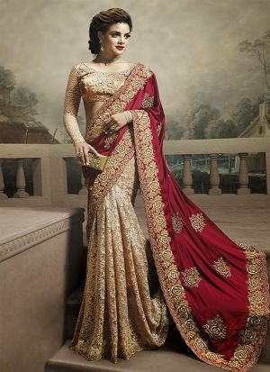 Zari Work Cream Satin Silk Georgette Festive Wear Saree