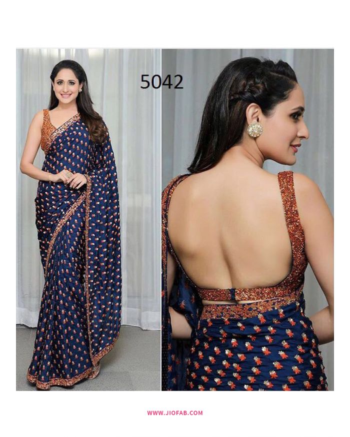 Buy Blue Hot Backless Pragya Jaiswal Bollywood Actress Designer Saree Online India