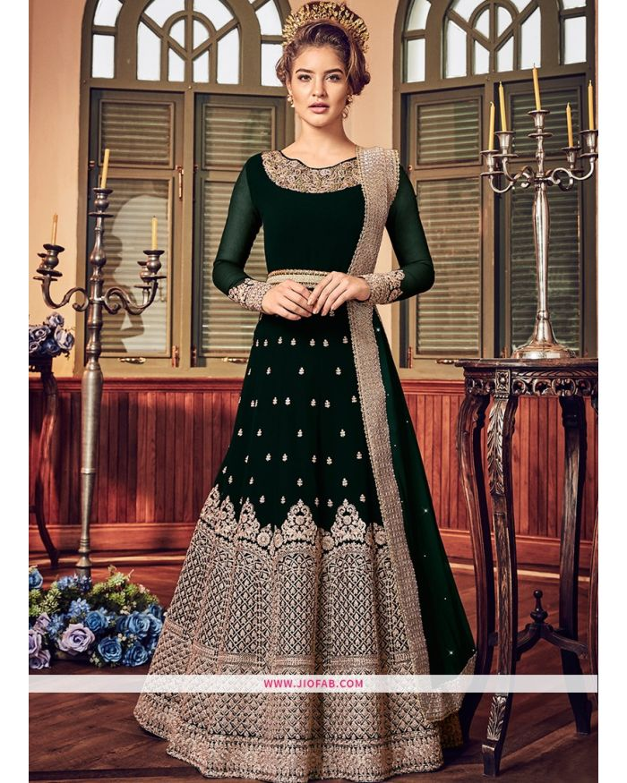1707920dc66 Buy Designer Wedding Embroidered Dark Green Georgette Anarkali Suit Online .