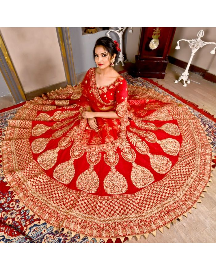 718844576d Shop Online Gulkand Maroon Color Bridal Lehenga Choli With Velvet Fabric