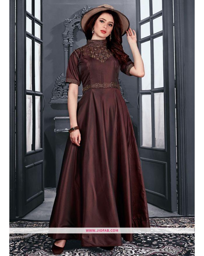 29d684b87e Shop Partywear Designer Brown Taffeta Satin Gown Online