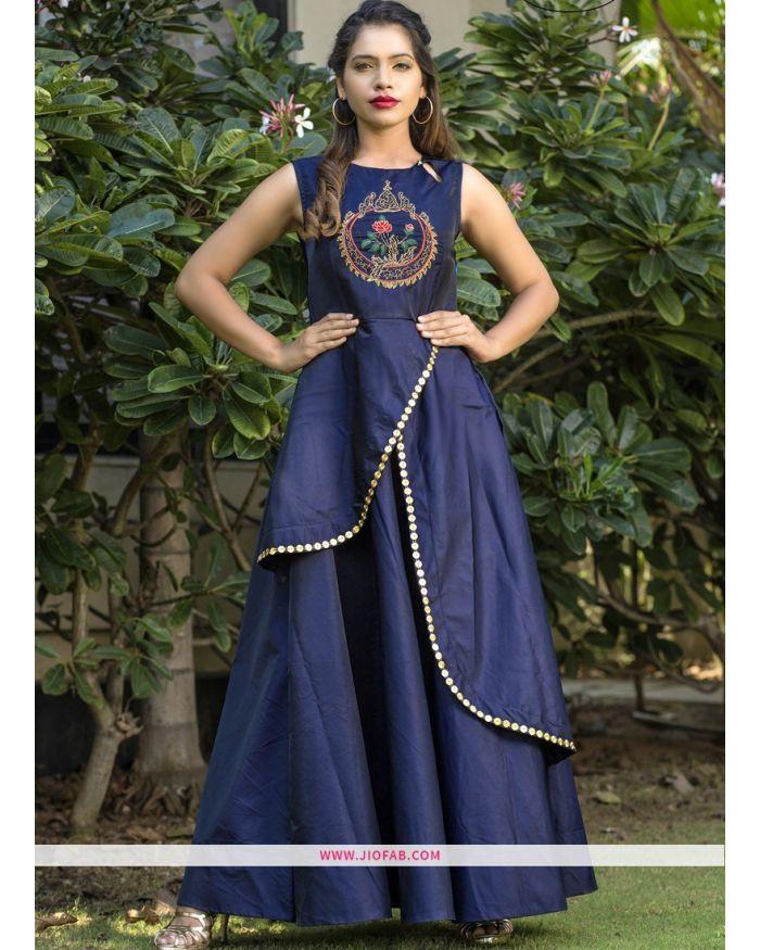 cd1a6b0428 Shop Partywear Designer Royal Blue Taffeta Silk Hand Work Gown Online