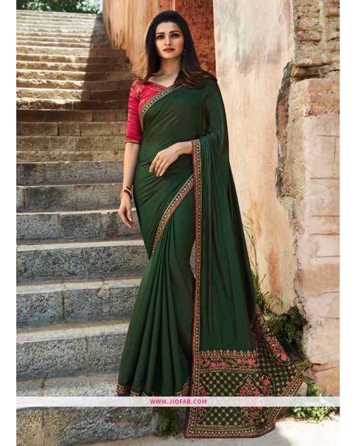 bd650e4cbeb646 Buy Online Prachi Desai Dark Green Embroidered Sparkle Silk Bollywood Saree