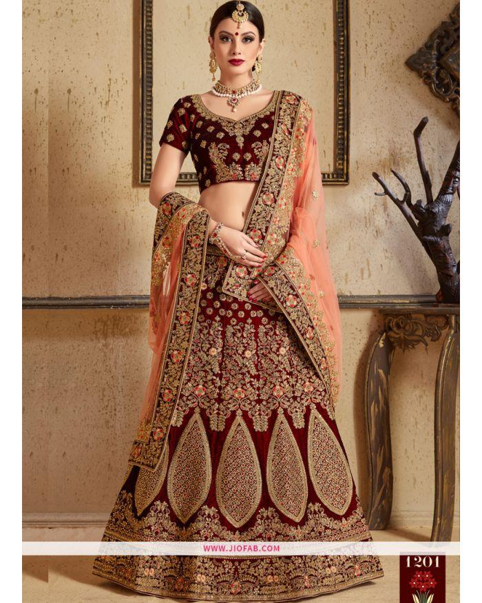 41e97f33951 Buy Online Pure Velvet Indian Lehenga Choli For Diwali Celebration In Maroon  Color