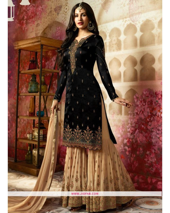 01678dde3e Online Purchase Wedding Designer Embroidered Black Satin Georgette Sharara  Suit