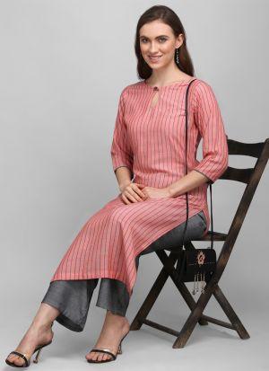 3-4 Sleeves Pink Printed Pant Style Kurti
