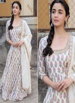 Alia Bhatt Wear Off White Digital Printed Gown