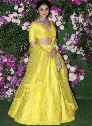 Alia Bhatt Yellow Taffeta Silk Embroidered Lehenga Choli With Net Dupatta