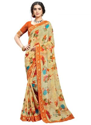 Amazing Casual Wear Chiku Color Georgette Saree
