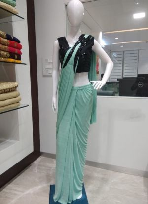Aqua Color Fancy Designer Ready To Wear Party Wear Ruffle Saree For Women