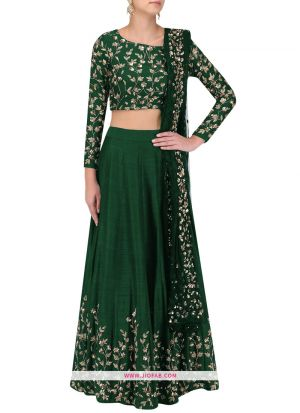 Art Silk Designer Wedding Wear lehenga Choli In Green Color