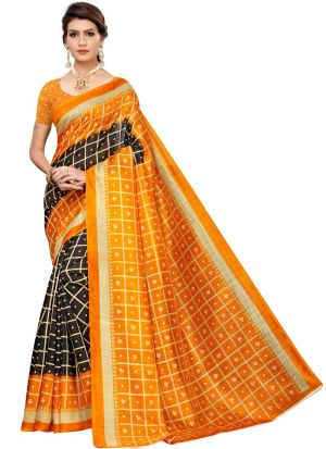 Art Silk Printed Black Bandhani Checks Saree
