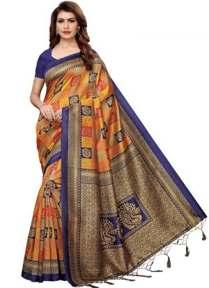 Art Silk Printed Navy And Orange Traditional Designer Sarees