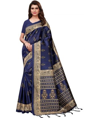 Art Silk Printed Navy Designer Traditional Saree