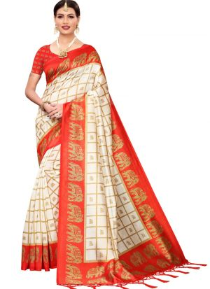 Art Silk Printed Red Festival Trendy Saree