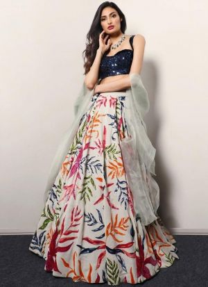 Athiya Shetty Style Satin Digital Printed Lehenga Choli