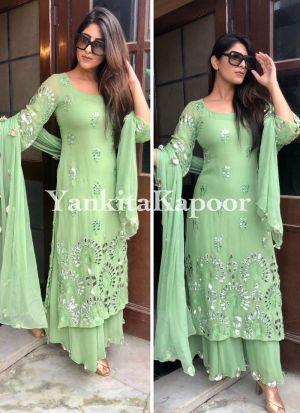 Attractive Dola Silk Mint Green Color Sharara Suit