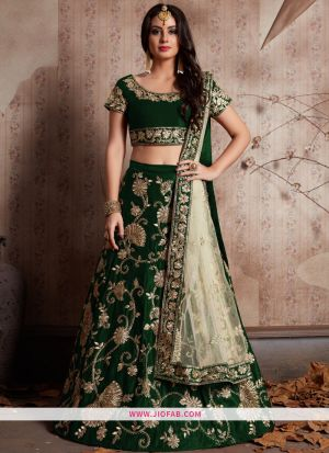 Attractive Green Embroidered Velvet Silk Ceremony Anarkali Lehenga