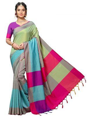 Attractive Multi Color Handloom Chex Silk Designer Saree