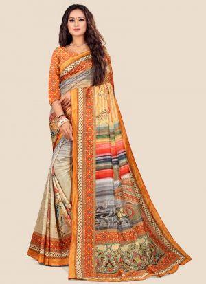 Attractive Multi Color Katki Silk Designer Saree