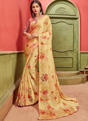Attractive Yellow Satin Designer Saree