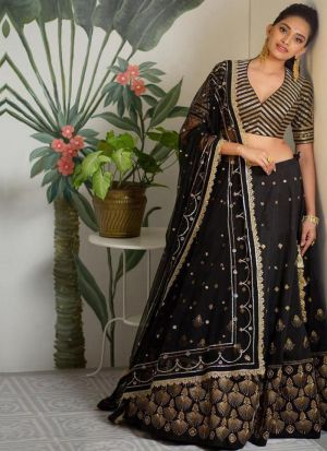 Awesome Black Fancy Sequence Work Stylish Lehenga Choli