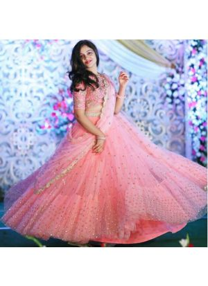 Baby Pink Color Butterfly Mono Net New Launch Party Wear Lehenga Choli