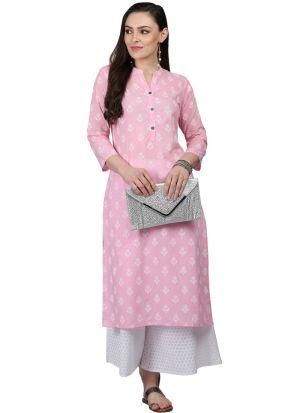 Baby Pink Cotton Designer Kurti For Women