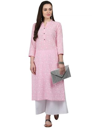Baby Pink Cotton Designer Kurti