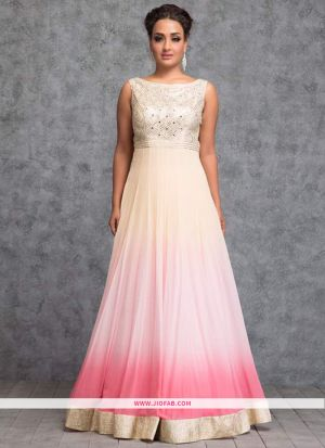 Baby Pink Embroidered Georgette Designer Festival Gown