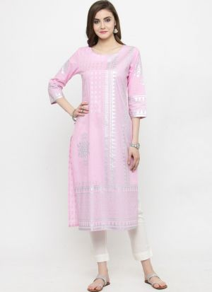 Baby Pink Pure Cotton Party Wear Kurti
