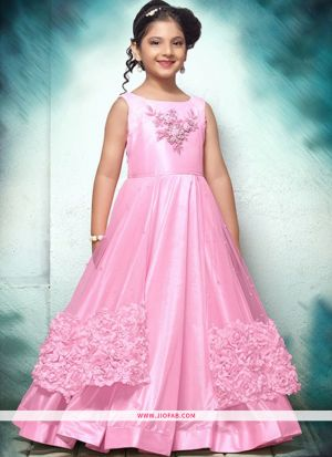 Baby Pink Thai Silk Gown For Kids Girl Collection