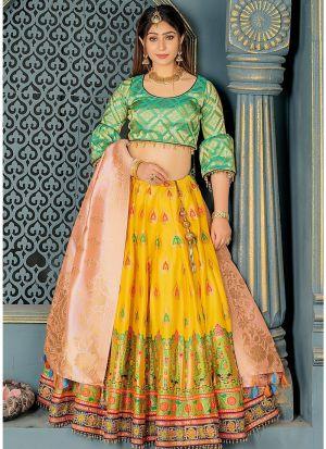 Banarasi Silk Lehenga Choli In Light Peach Colour