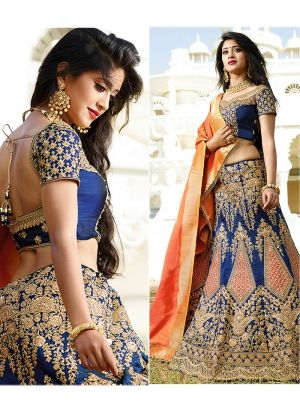 Bangalory Silk Blue Partywear Designer Lehenga With Heavy Hand Work