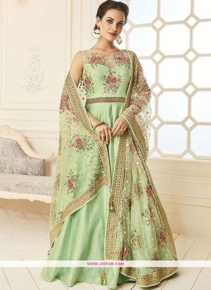 Banglori Silk Pista Color Designer Gown Collection