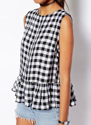 Beautiful Chex Style Ruby Cotton Black And White Top