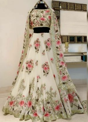 Beautiful Floral Design Georgette White Lehenga Choli