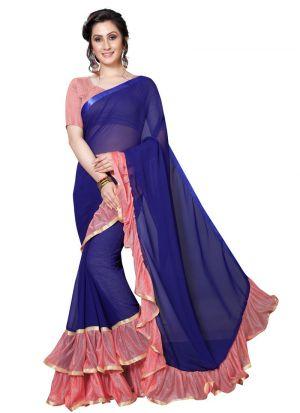 Beautiful Pink Georgette Saree For Raksha Bandhan