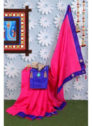 Beautiful Pink Zoya Silk Saree For Raksha Bandhan